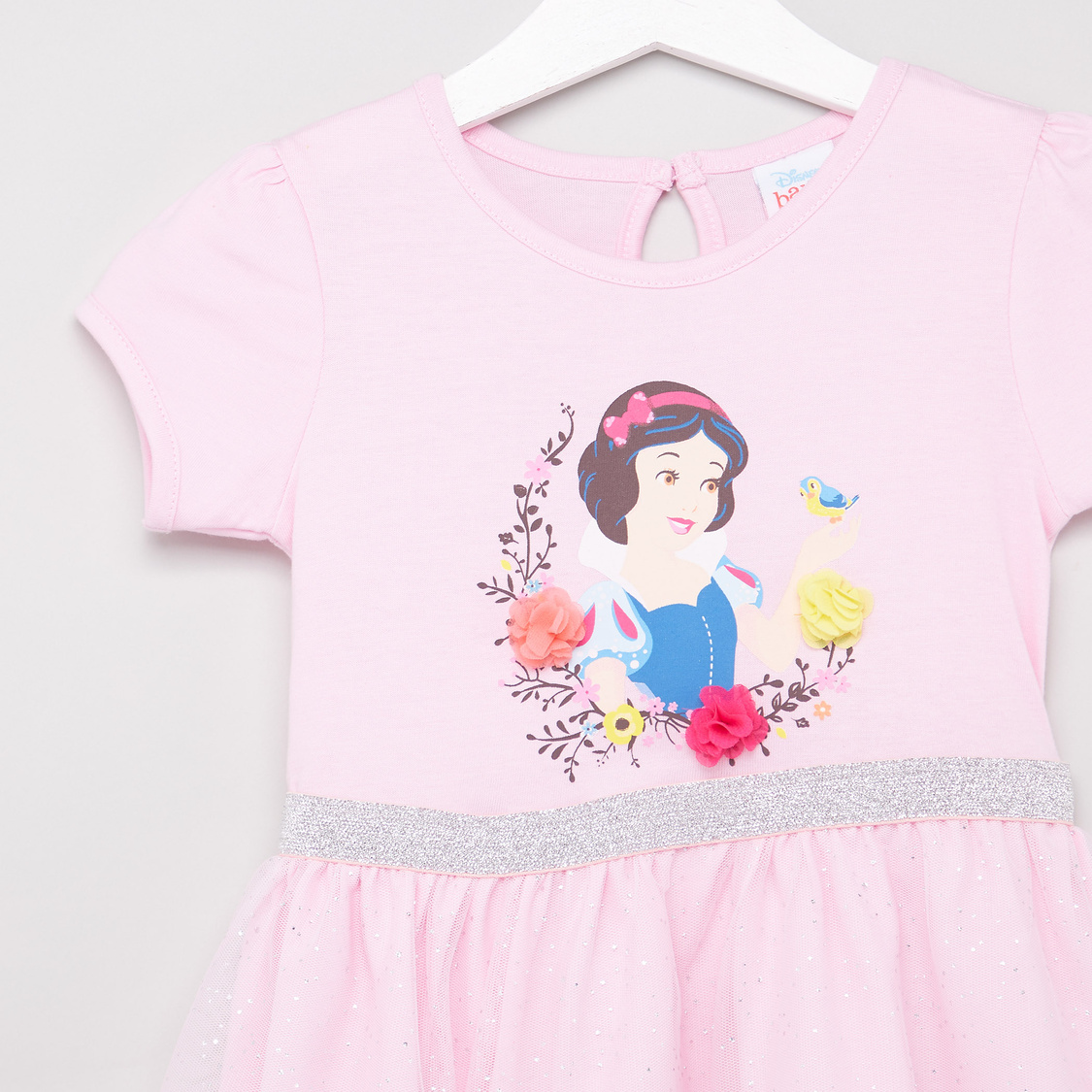 Snow White Print Dress with Short Sleeves