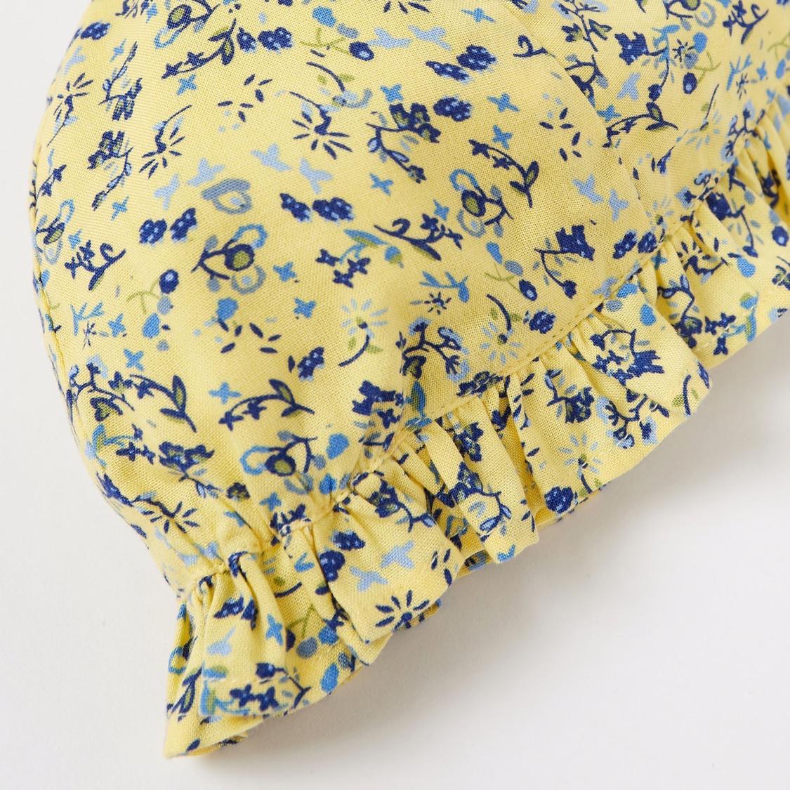 Floral Print Romper and Cap Set