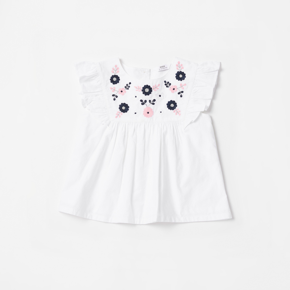 Embroidered Detail Cap Sleeves Top with Polka Dot Print Shorts Set