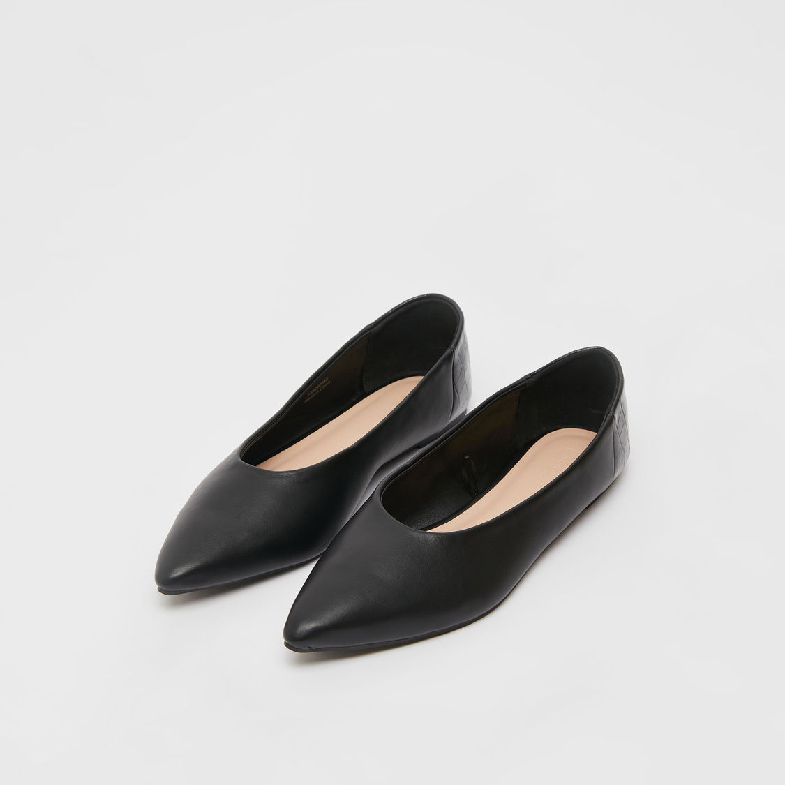 Solid Pointed Toe Slip-On Ballerinas