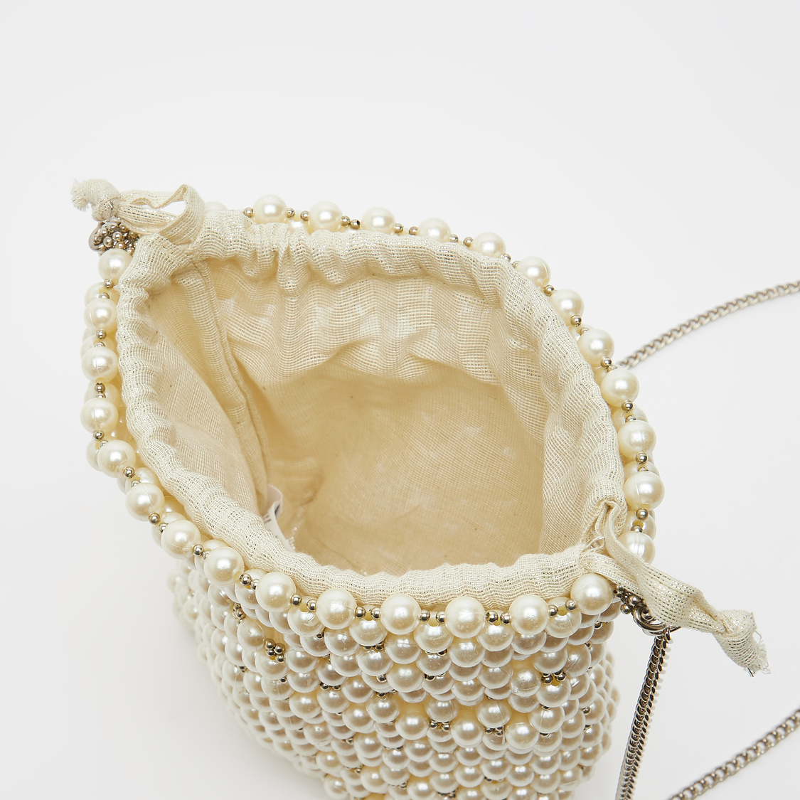 Pearl Detail Crossbody Bag with Metallic Chain