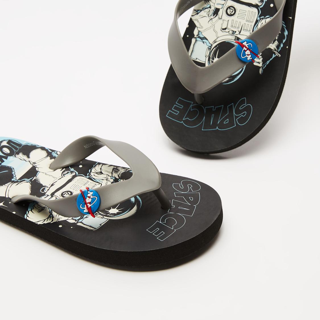 NASA Print Flip Flops with Applique Detail Straps