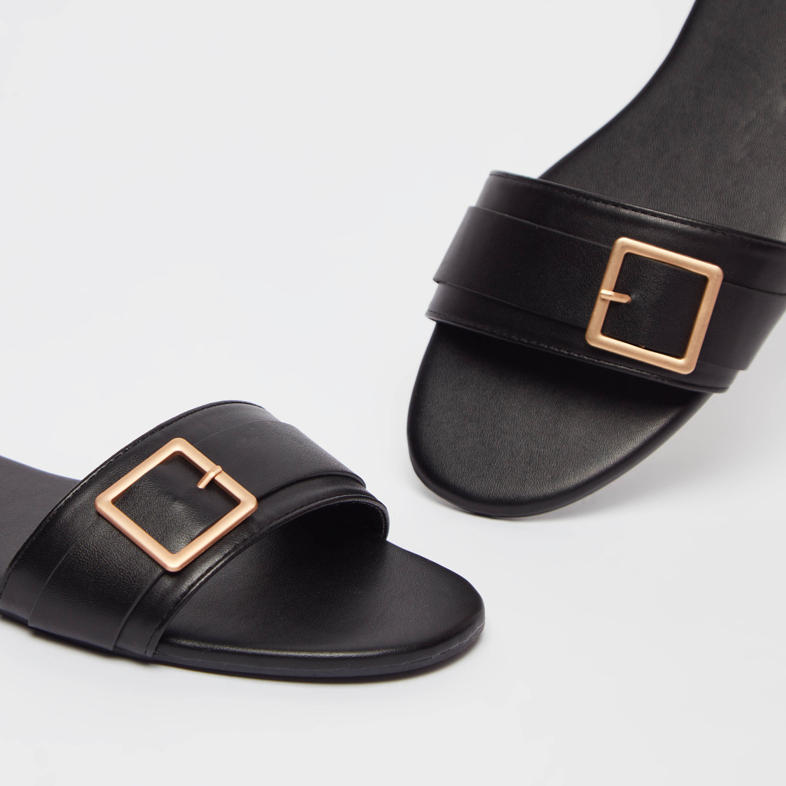 Solid Slip-On Pin Buckle Detail Flat Sandals
