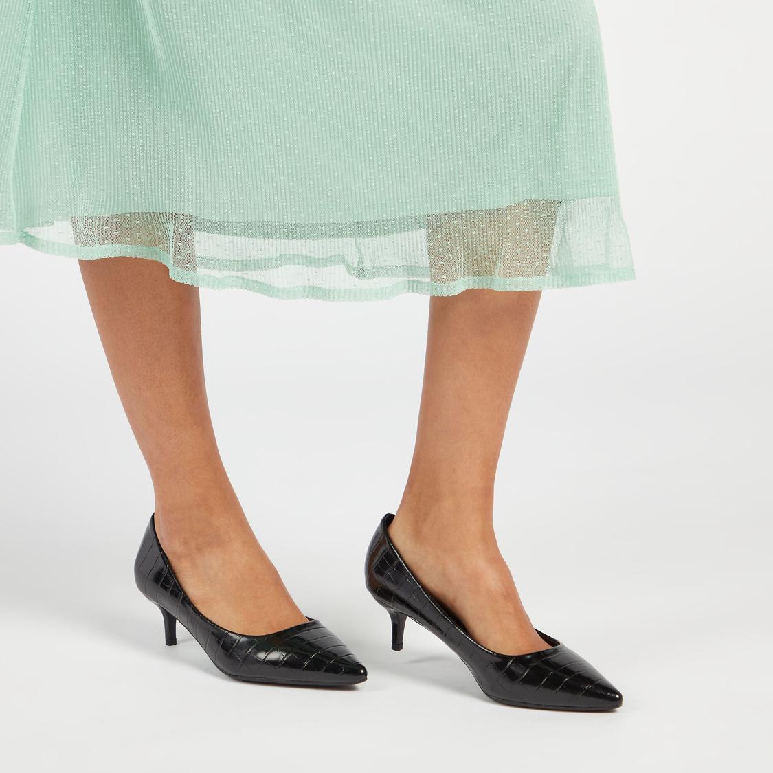 Textured Slip-On Pumps with Kitten Heels