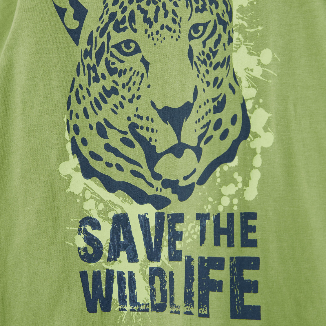 Wildlife Print Round Neck T-shirt with Short Sleeves