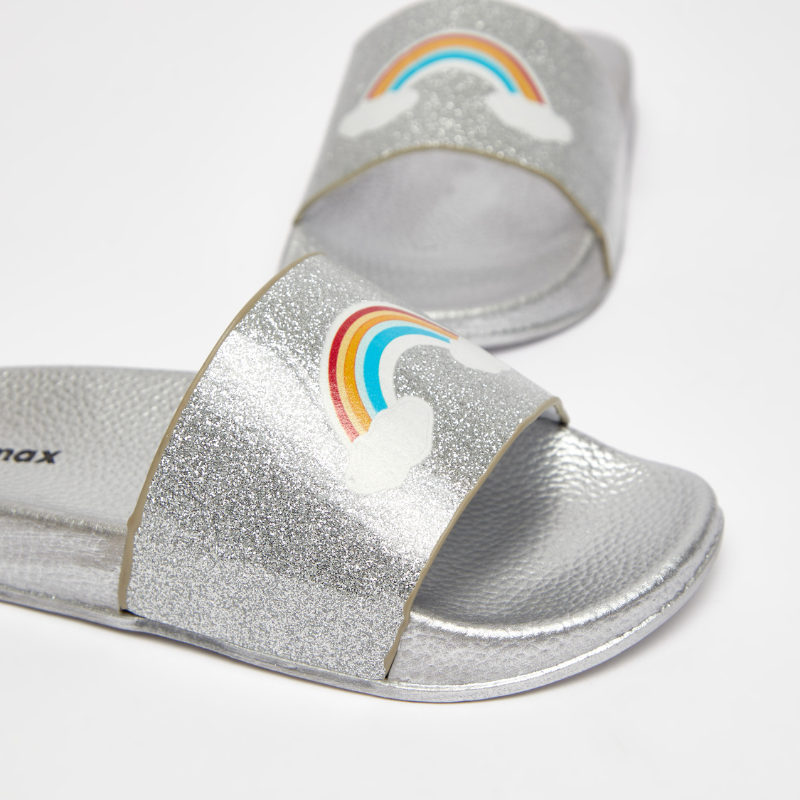 Glitter Accent Slides with Rainbow Print Vamp Band