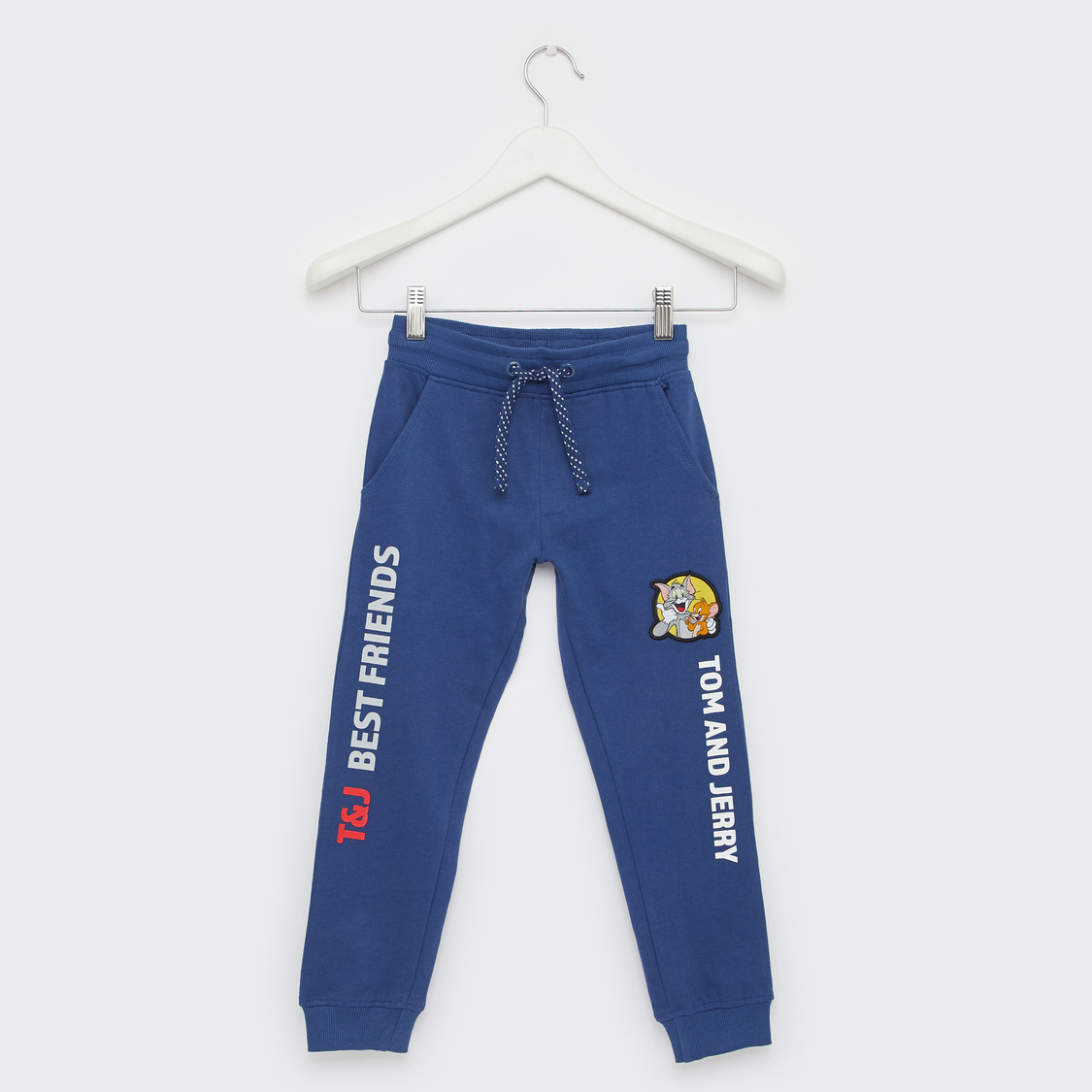 Tom and Jerry Typographic Print Jog Pants with Drawstring Closure
