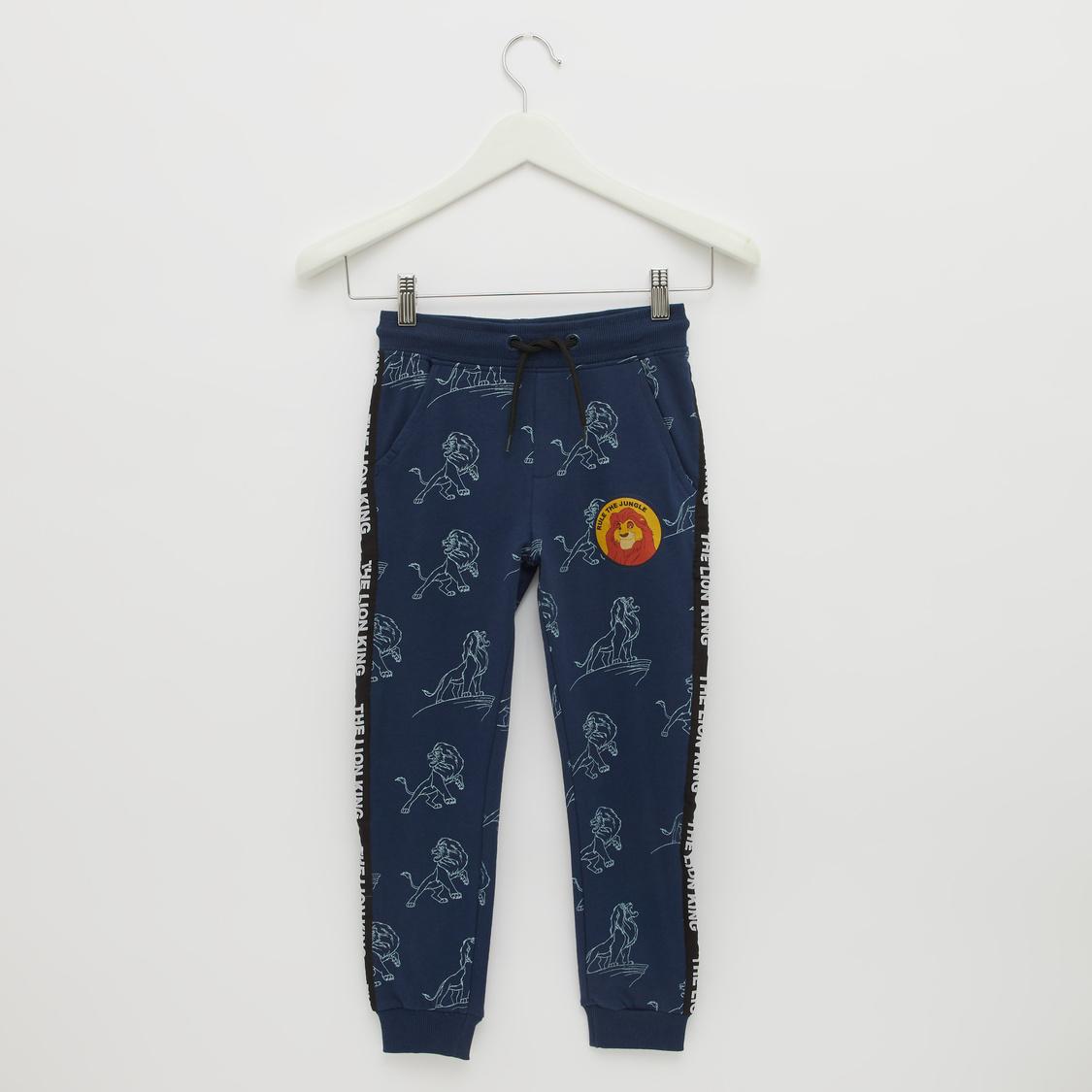 The Lion King Print Jog Pants with Pocket Detail and Drawstring