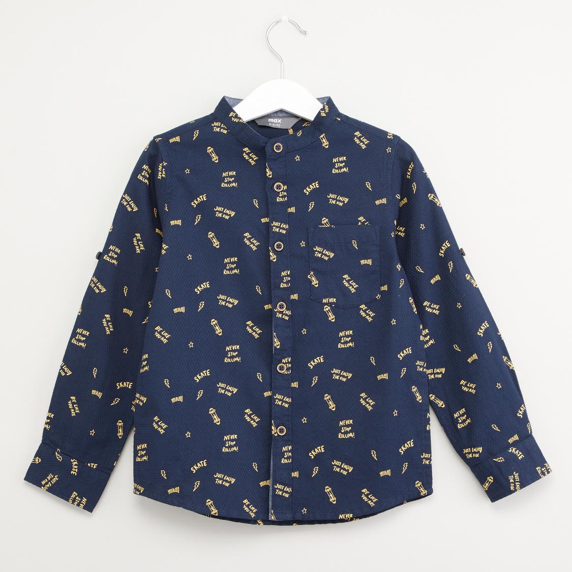 Text Print Shirt with Mandarin Neck and Long Sleeves