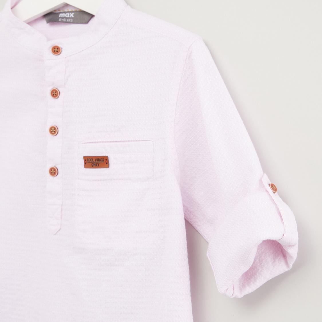 Plain Shirt with Mandarin Collar and Long Sleeves