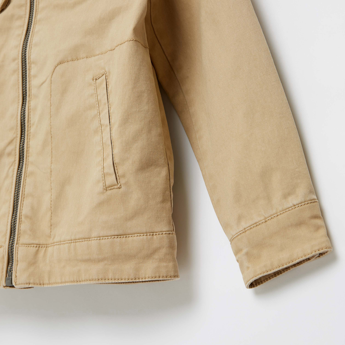 Solid Jacket with Long Sleeves and Zip Closure
