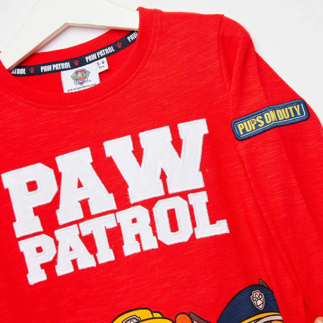 PAW Patrol Print T-shirt with Round Neck and Long Sleeves
