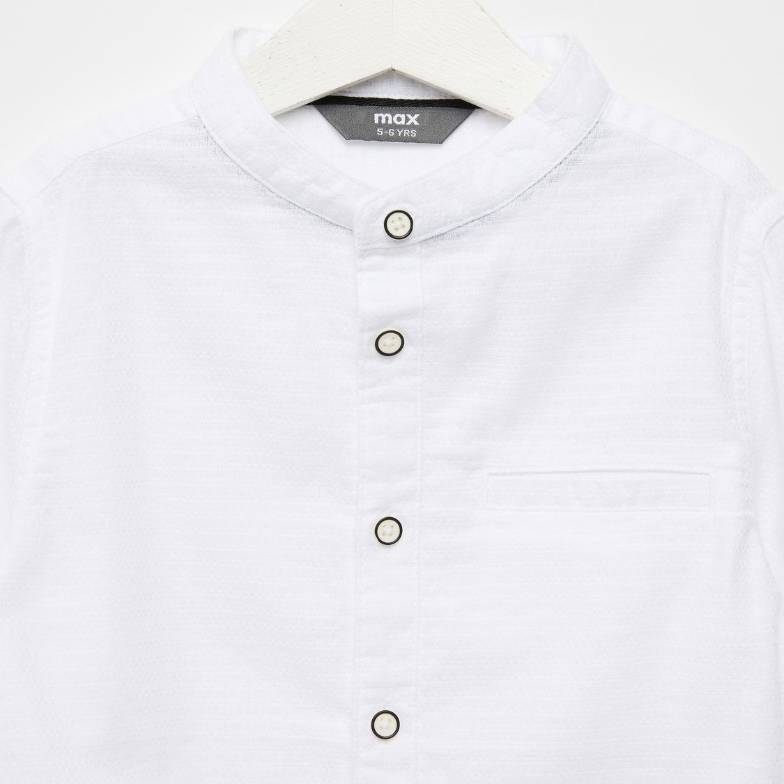 Textured Shirt with Mandarin Collar and Long Sleeves