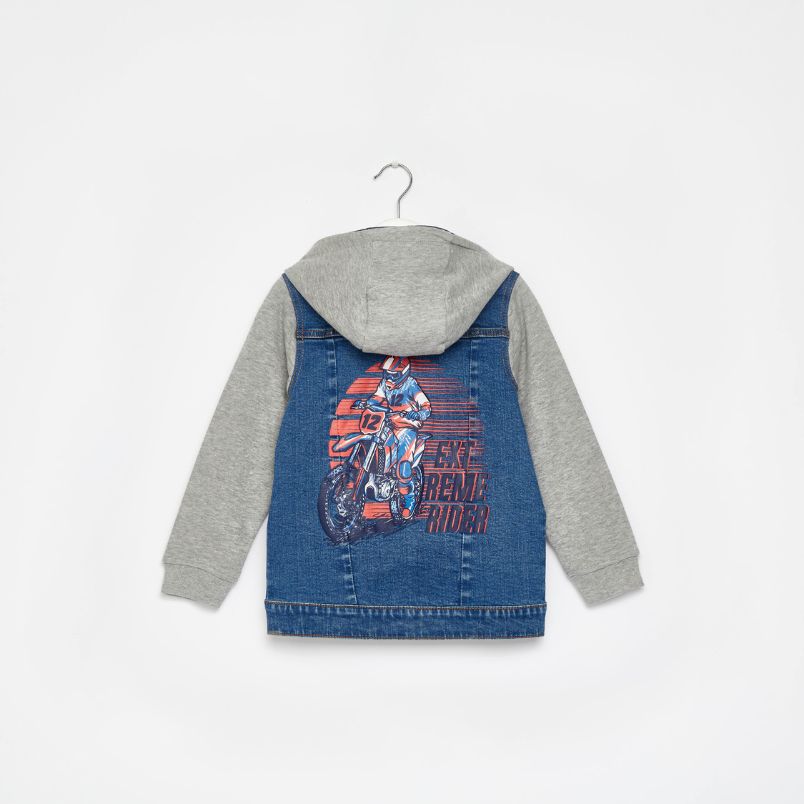 Printed Denim Jacket with Hooded Neck and Long Sleeves
