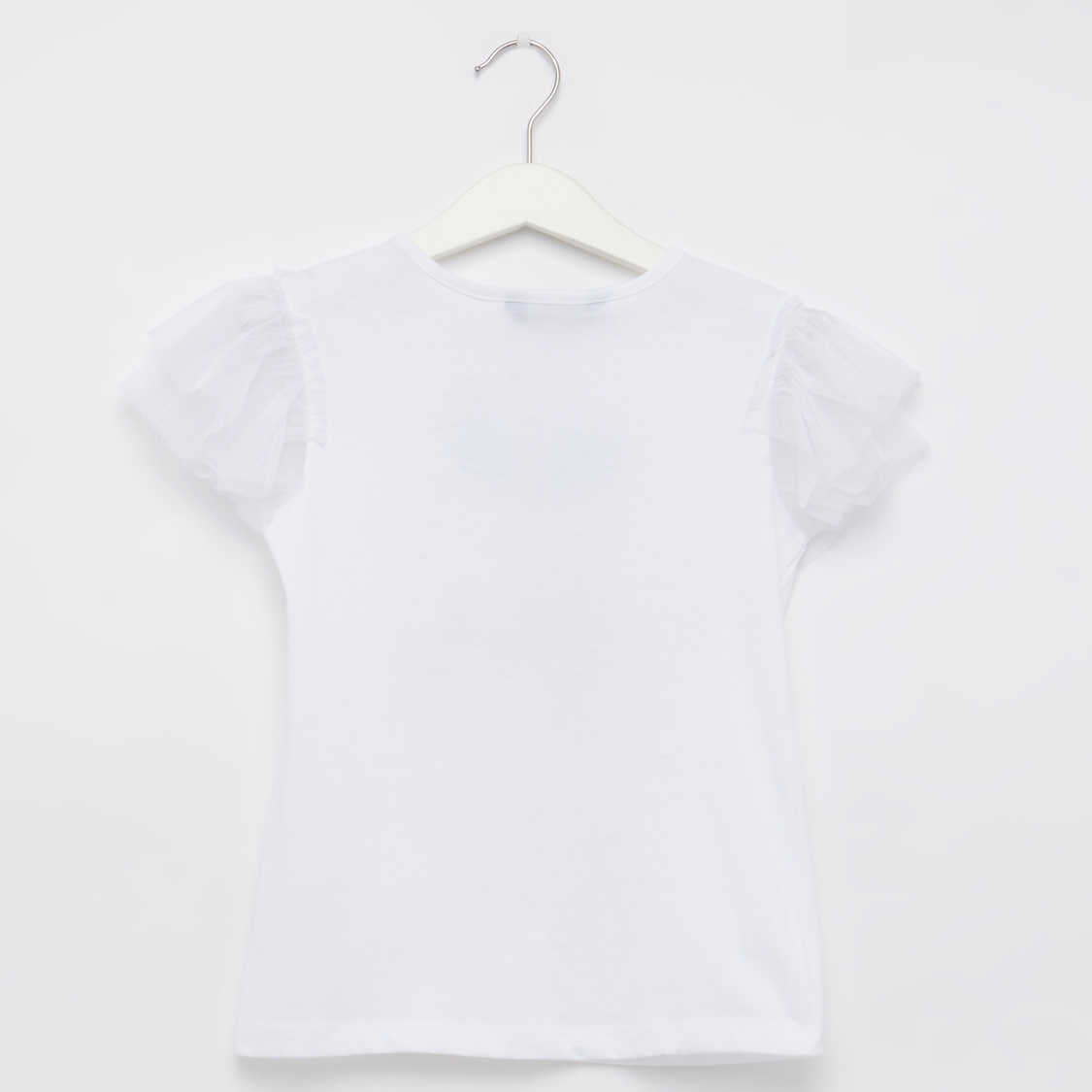 Sequin Detail Round Neck T-shirt with Textured Shorts