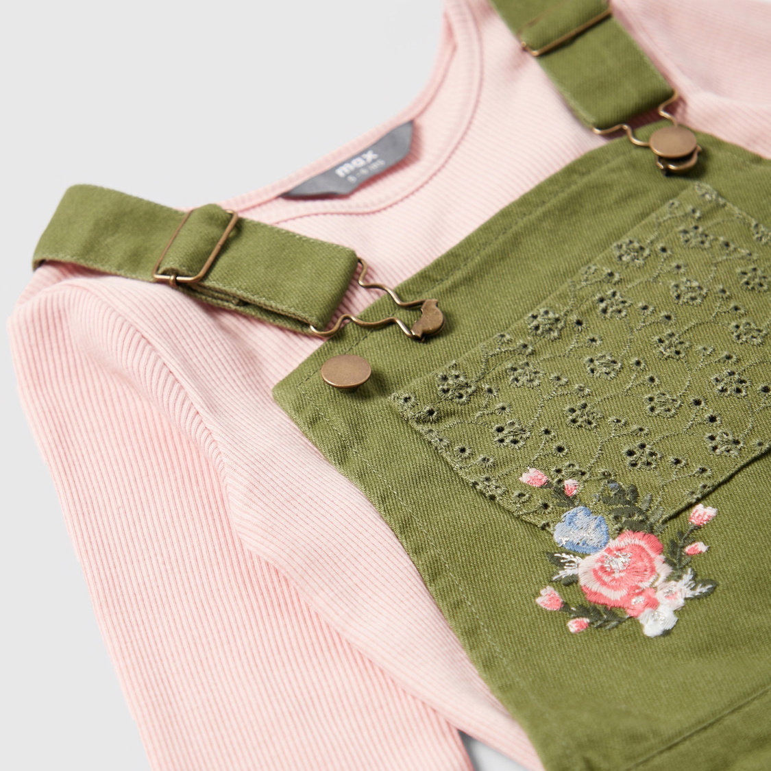 Ribbed T-shirt and Floral Embroidered Dungaree Set