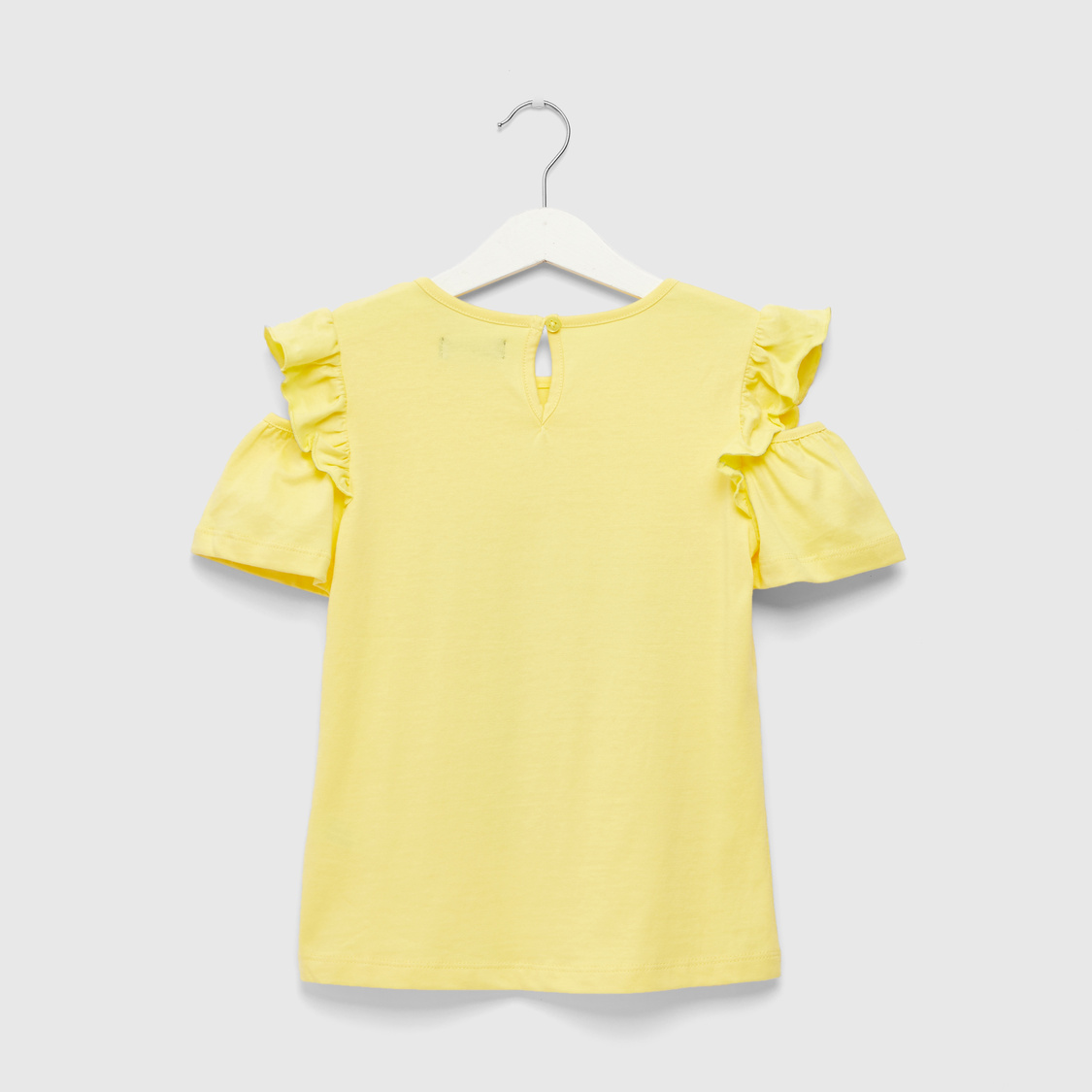 Disney Princess Print Round Neck T-shirt with Cold Shoulder Sleeves