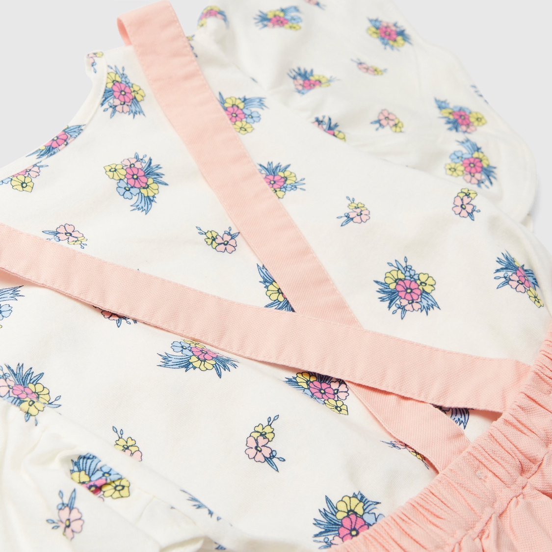 All-Over Floral Print T-shirt and Pinafore Skirt Set