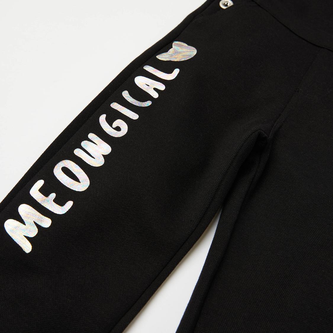 Cat Print Long Sleeves T-shirt and Dungarees Set