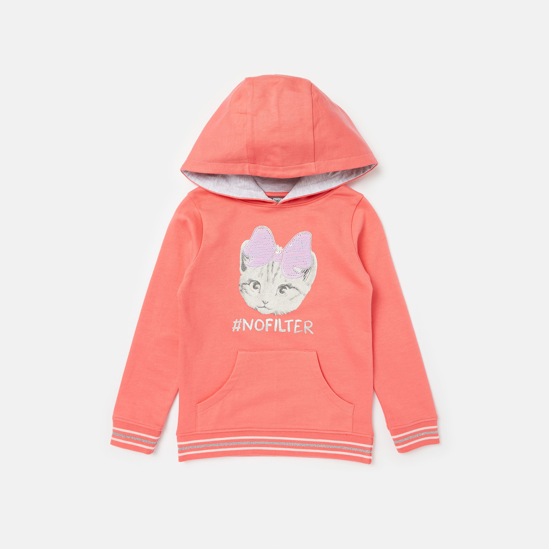 Sequin Detail Cat Print Hooded Sweatshirt and Joggers Set