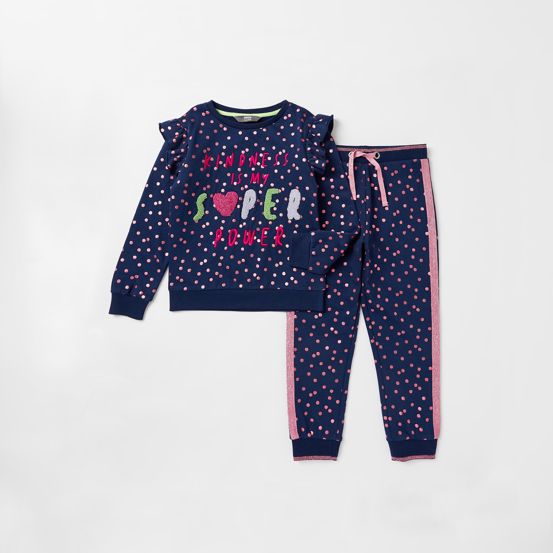 Embroidered Text Detail Long Sleeves Sweatshirt with Jog Pants