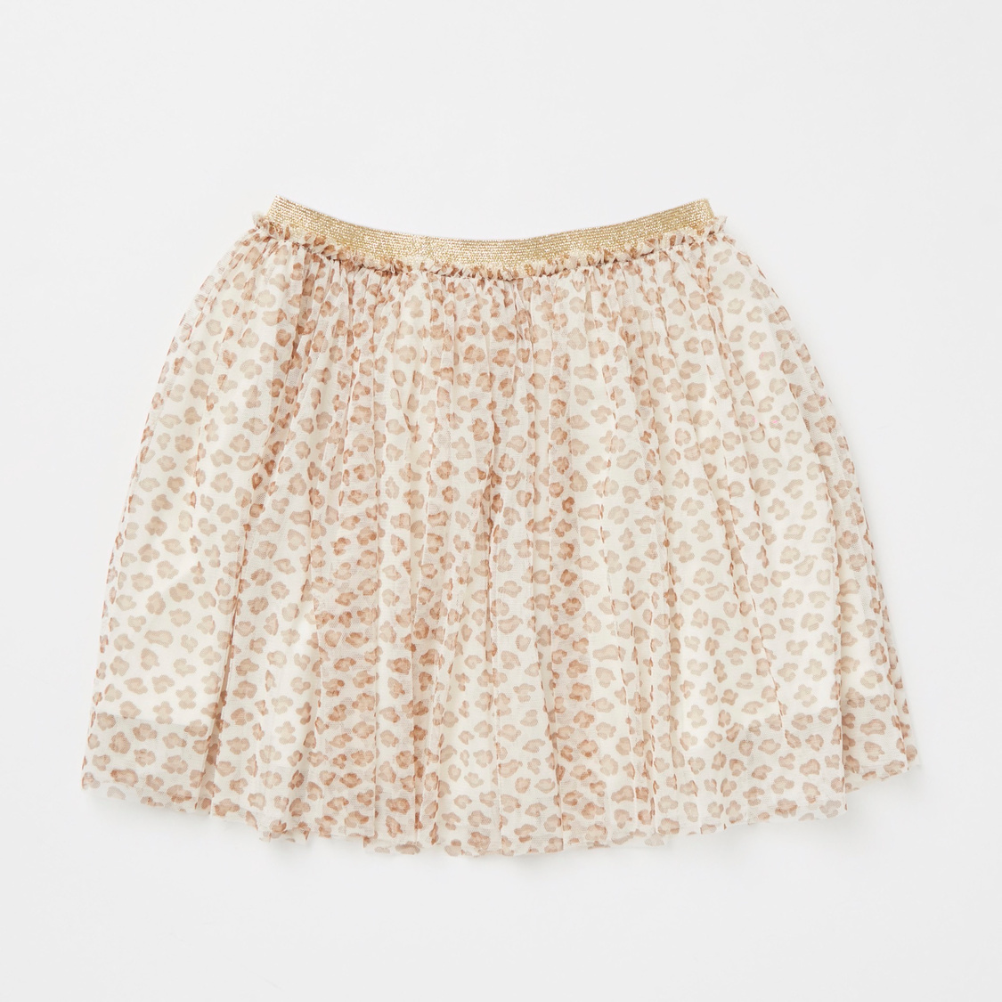 Sequin Detail Long Sleeves T-shirt with All-Over Print Skirt