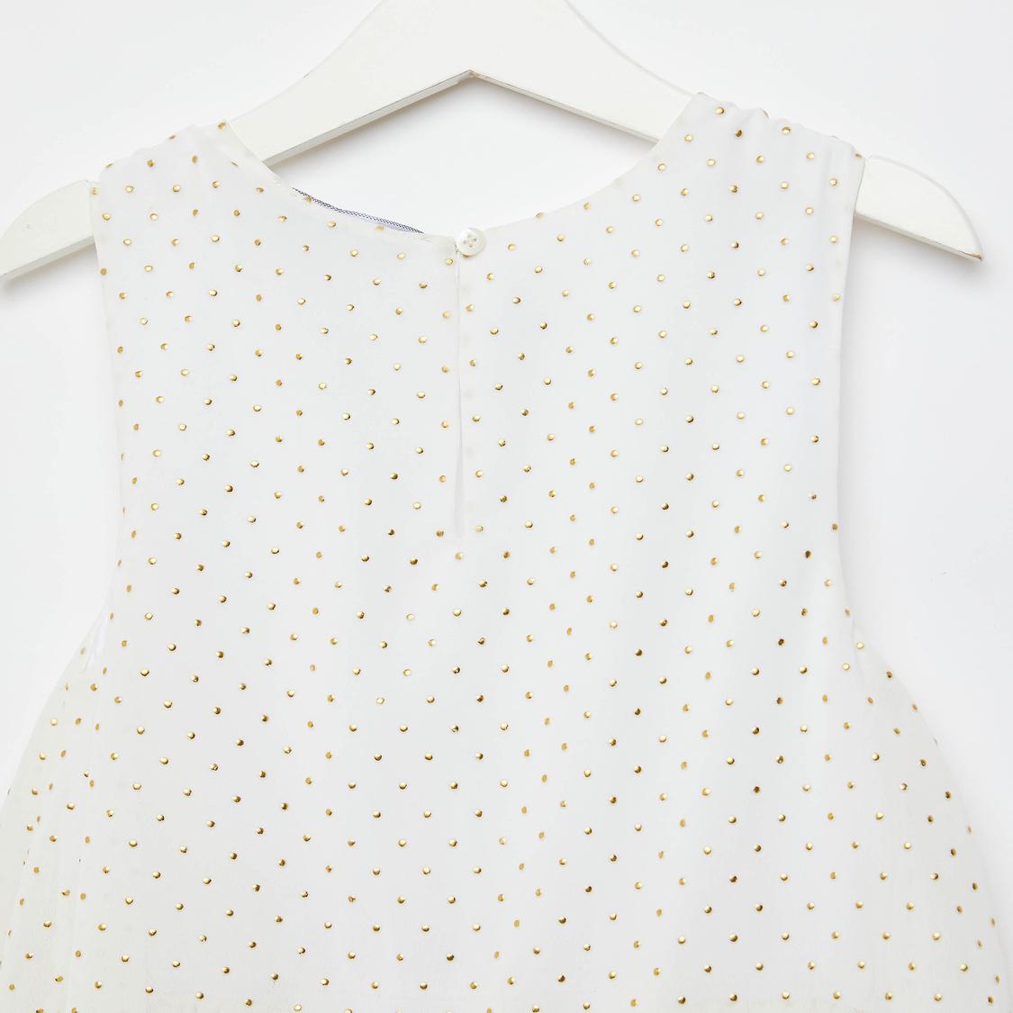 Stud Embellished Knee Length Pleated Sleeveless Dress