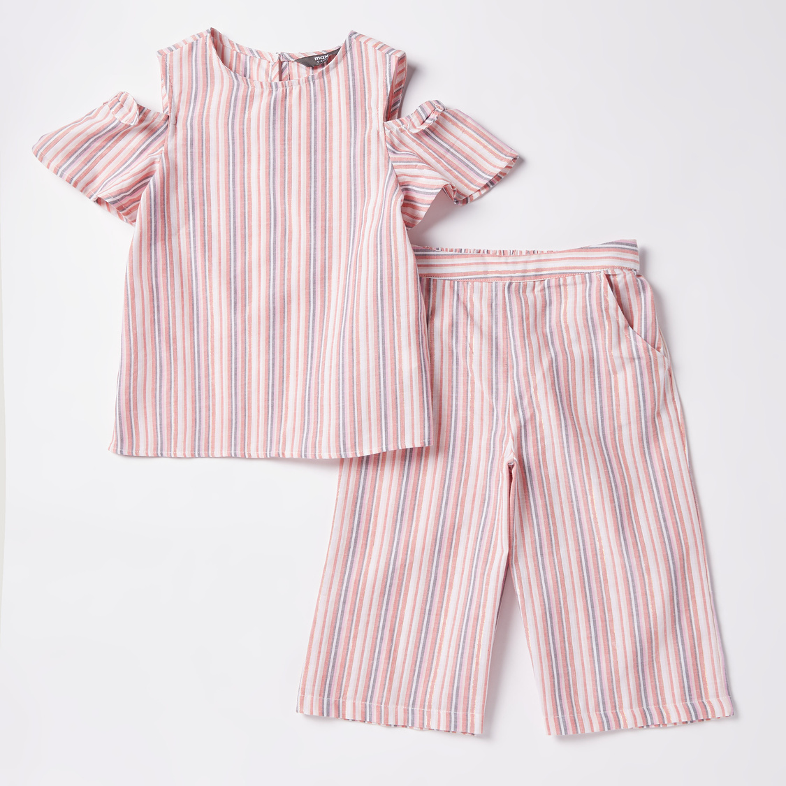 Striped Round Neck Top with Culottes