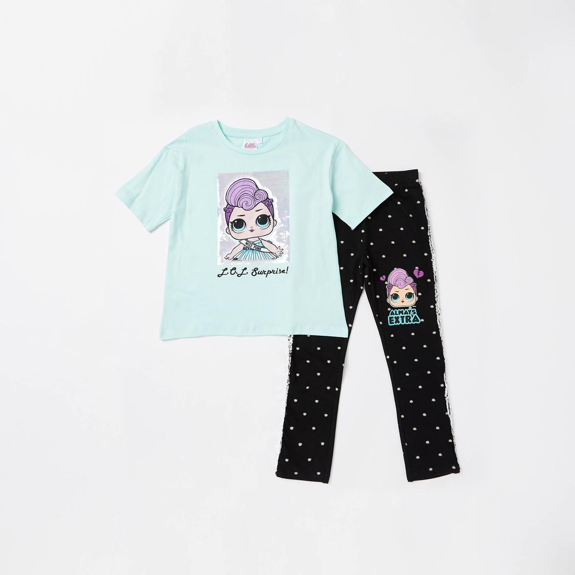 L.O.L. Surprise! Short Sleeves T-shirt and Full Length Legging Set