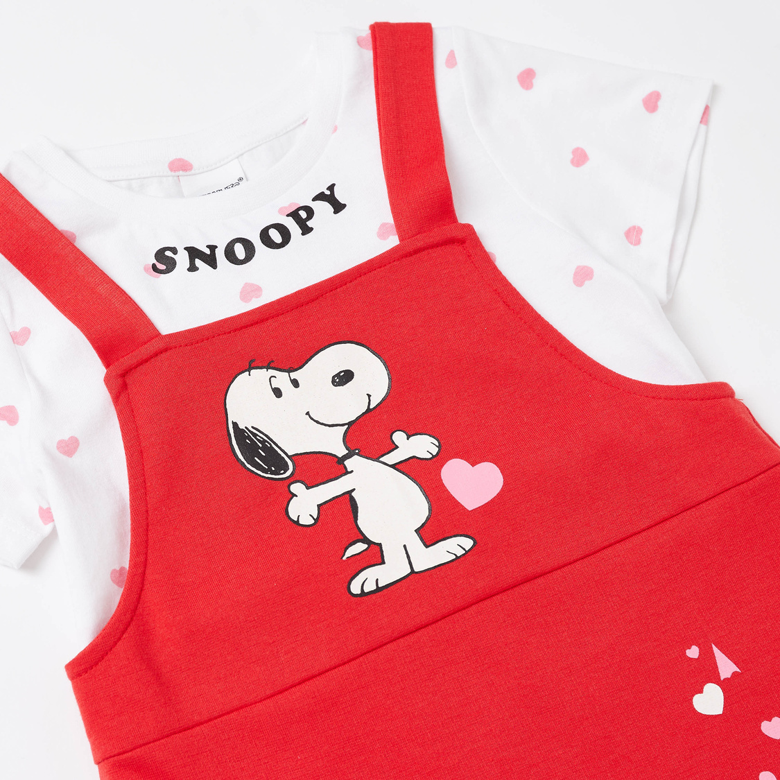 Snoopy Print T-shirt and Pinafore Set