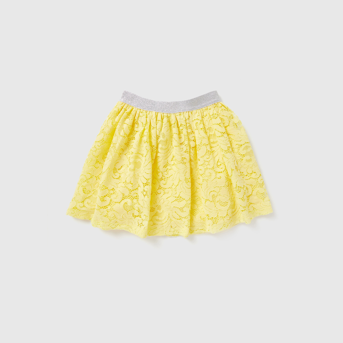 Graphic Print Short Sleeves T-shirt with Lace Detail Skirt Set