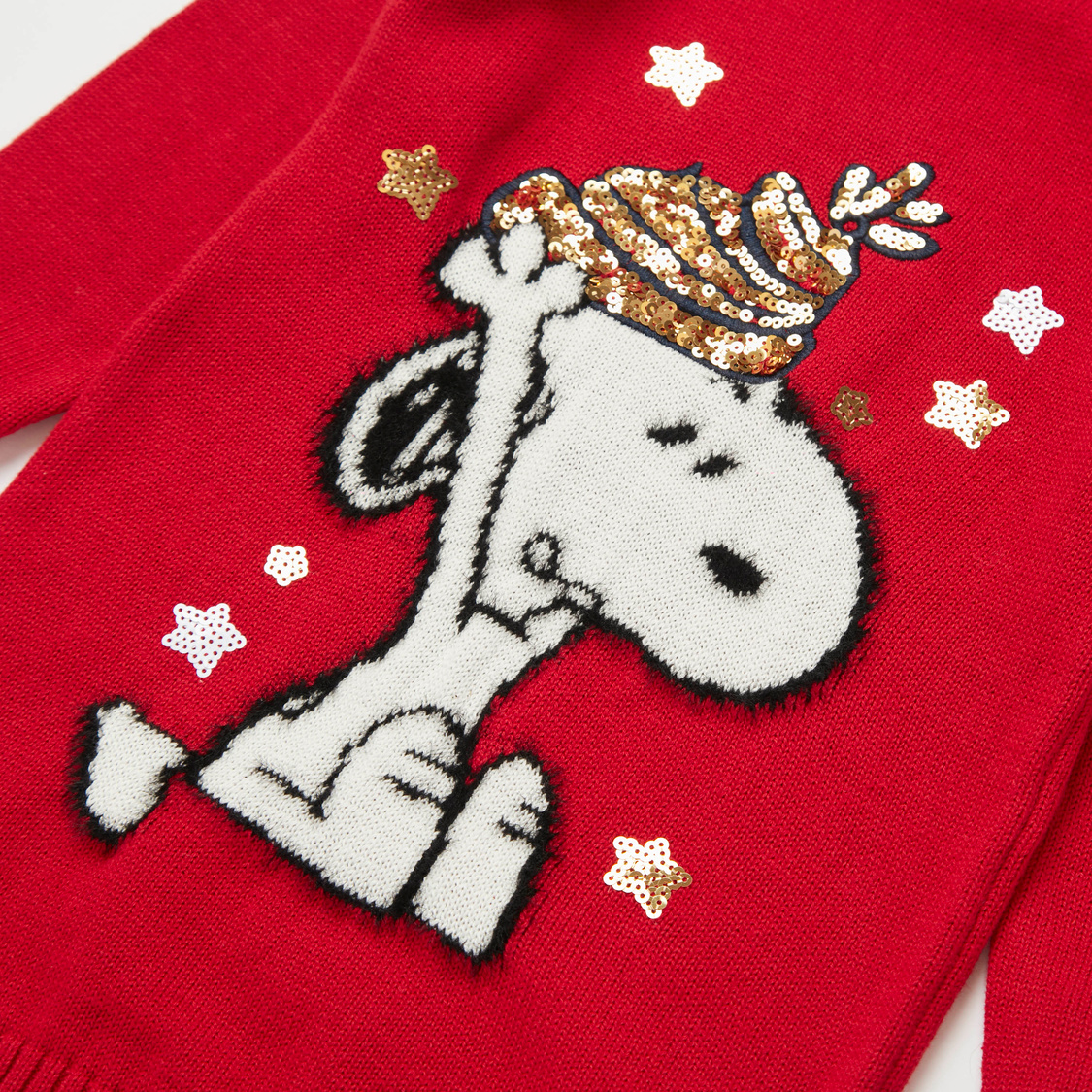 Snoopy Sequin Detail Sweater Dress with Stockings