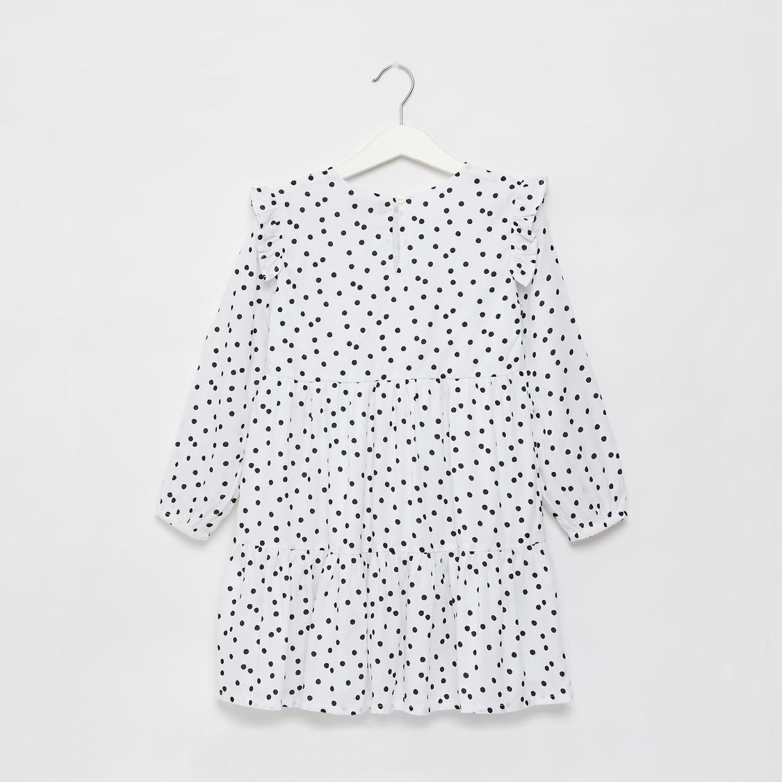 Polka Dots Print Midi Tiered Dress with Ruffle Detail and Long Sleeves