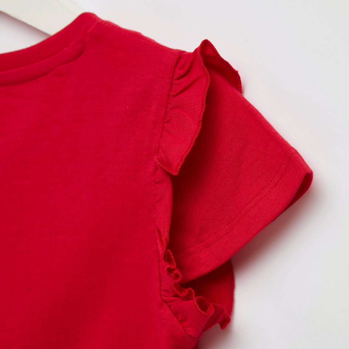 Text Print T-shirt with Cap Sleeves and Frill Detail