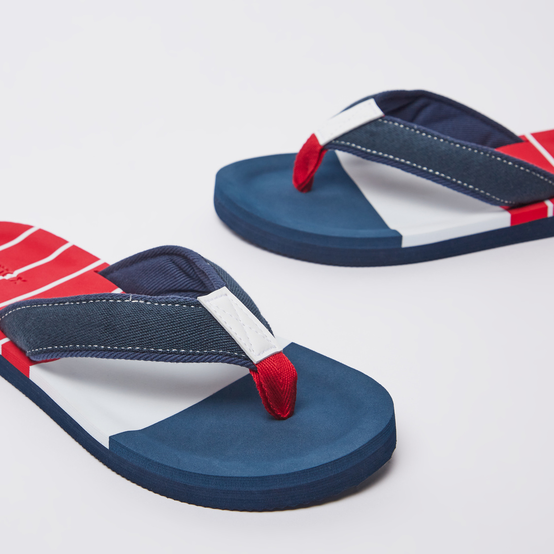 Striped Flip Flops with Wide Textured Straps
