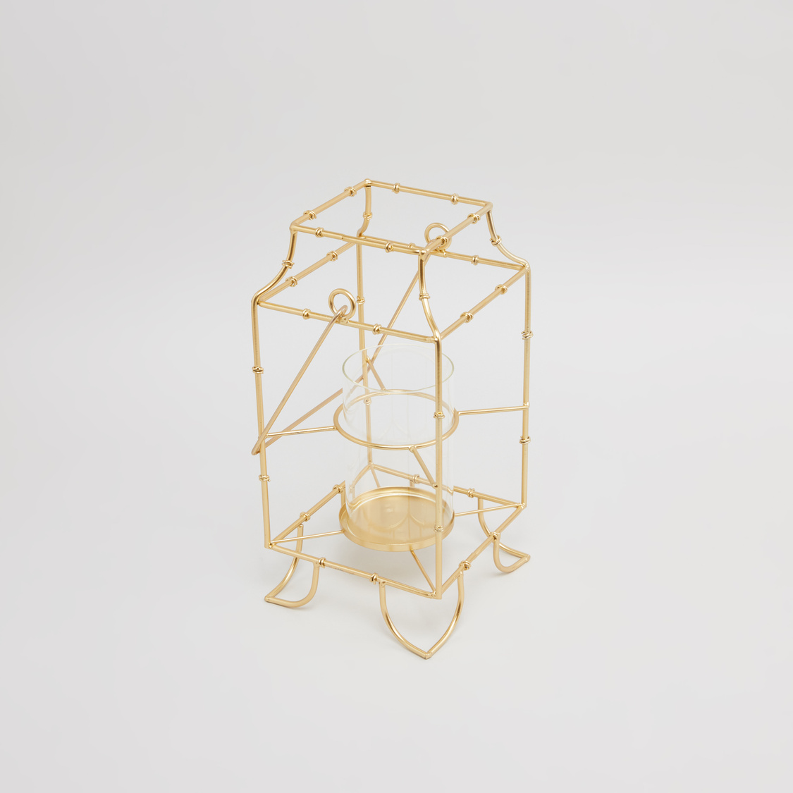 Lantern with Glass Candle Holder - 16 cms
