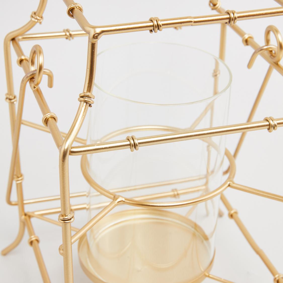 Metal Latticework Candle Lantern - 19 cms