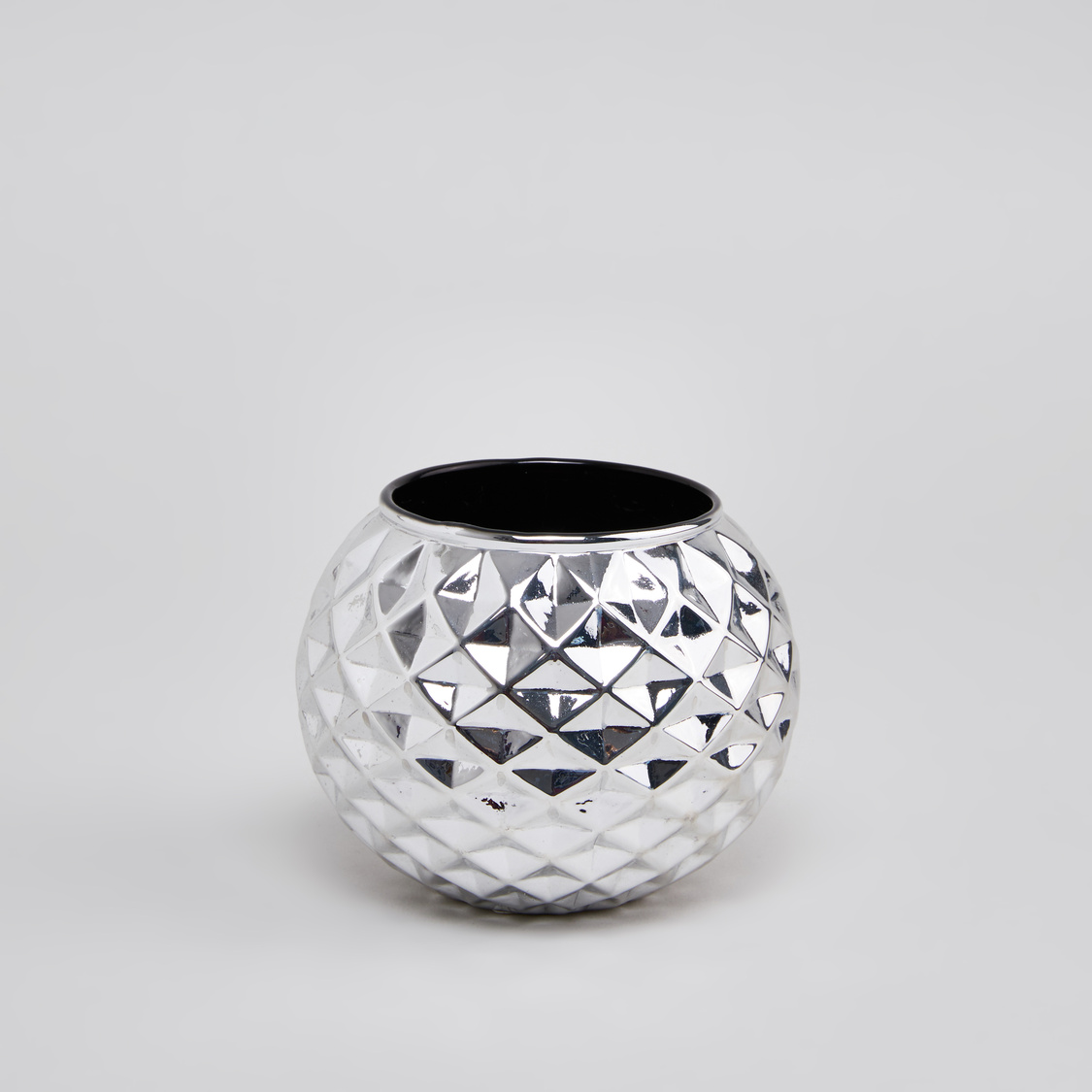 Faceted Round Candle Holder - 11 cms