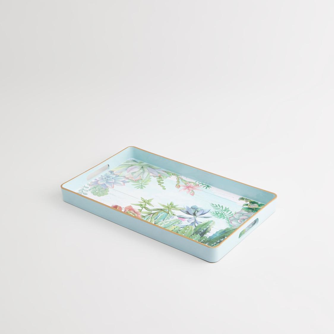 صينية تقديم مستطيلة بطبعات زهرية - 40x24x4 سم