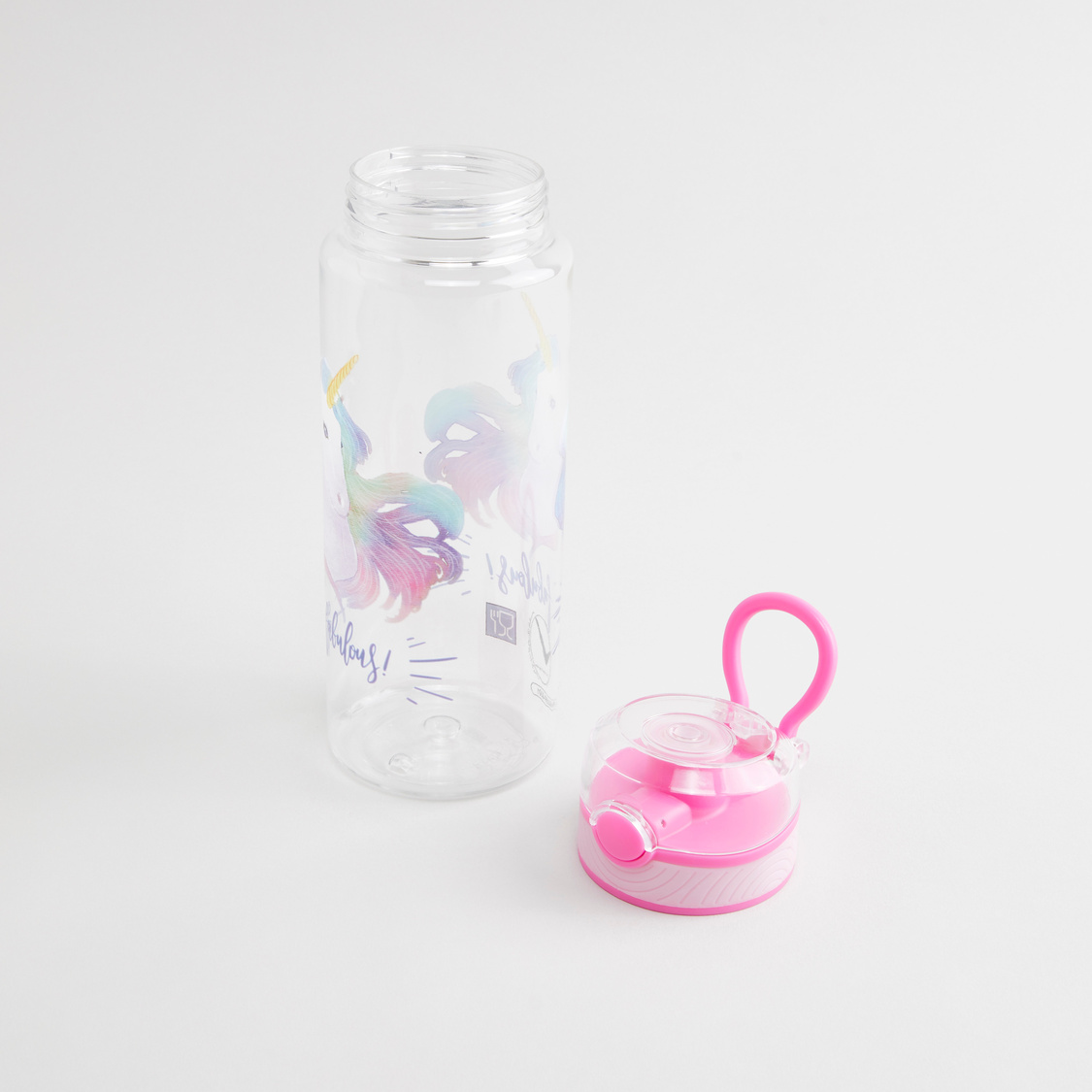 Unicorn Print Water Bottle with Flip Cap and Handle