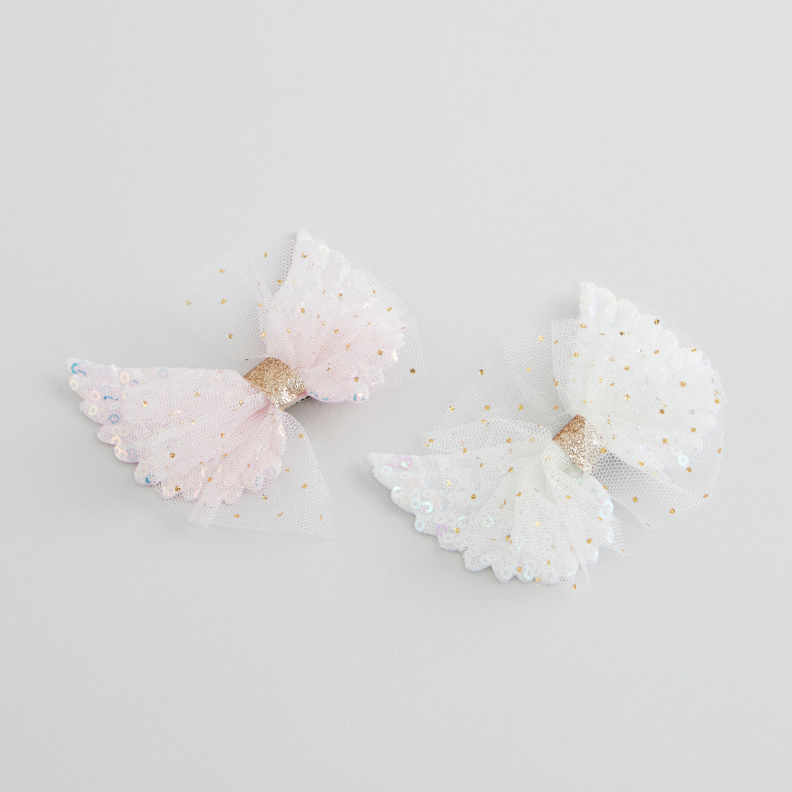 Set of 2 - Bow Applique Detail Hair Clips
