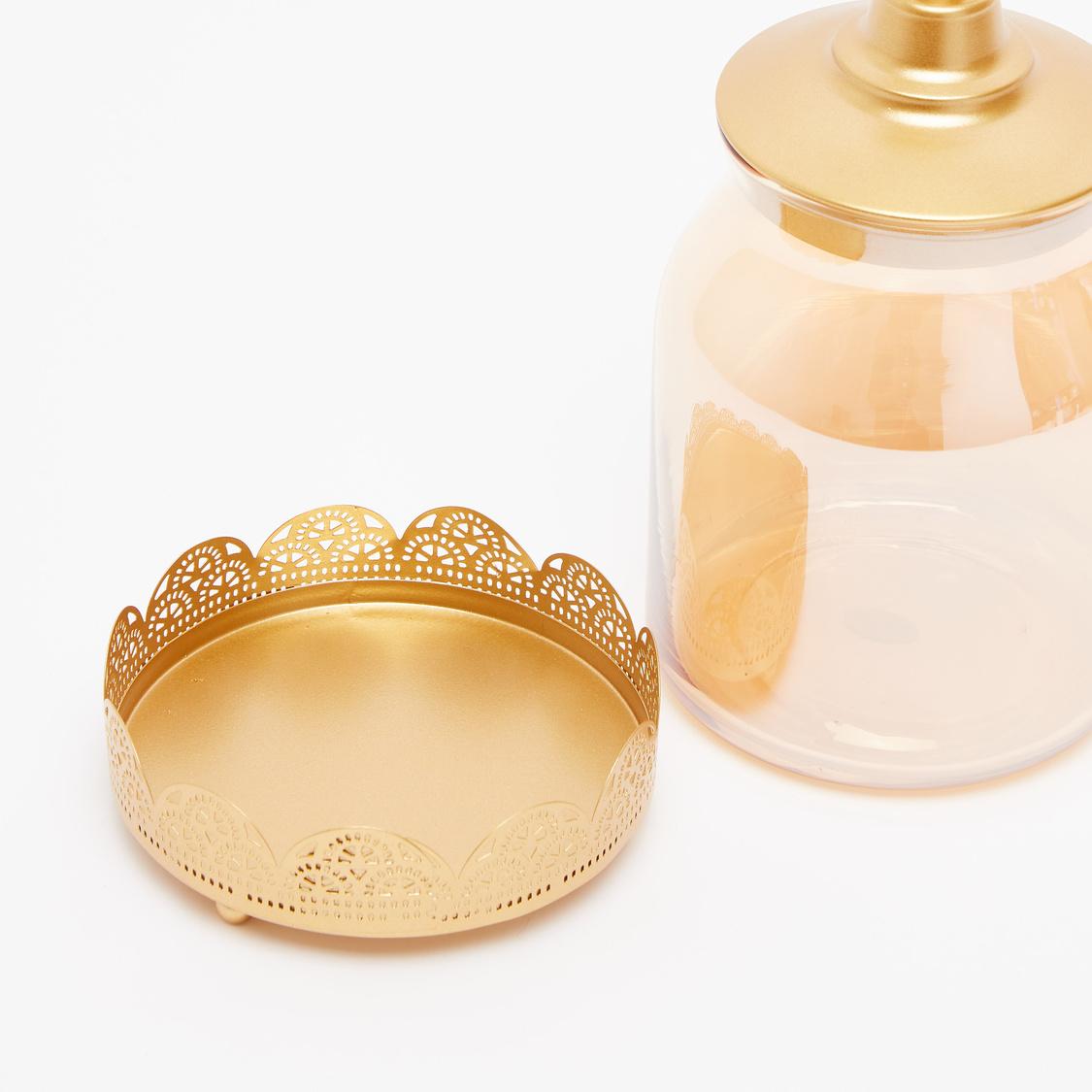 Decorative Tea Light Candle Jar with Lid - 12x27 cms