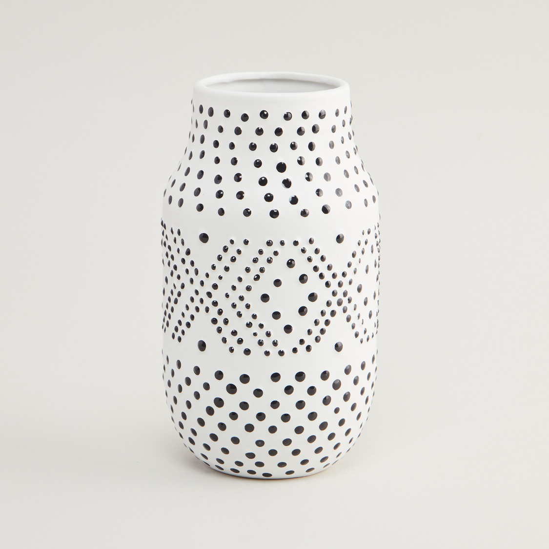 Ceramic Vase with Slip Trailed Detail - 11.3x11.3x20 cms