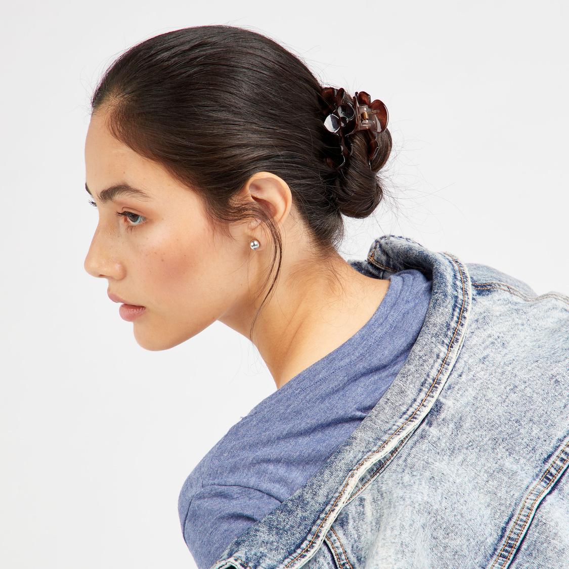 مشابك شعر بزخارف أزهار - طقم من 3 قطع