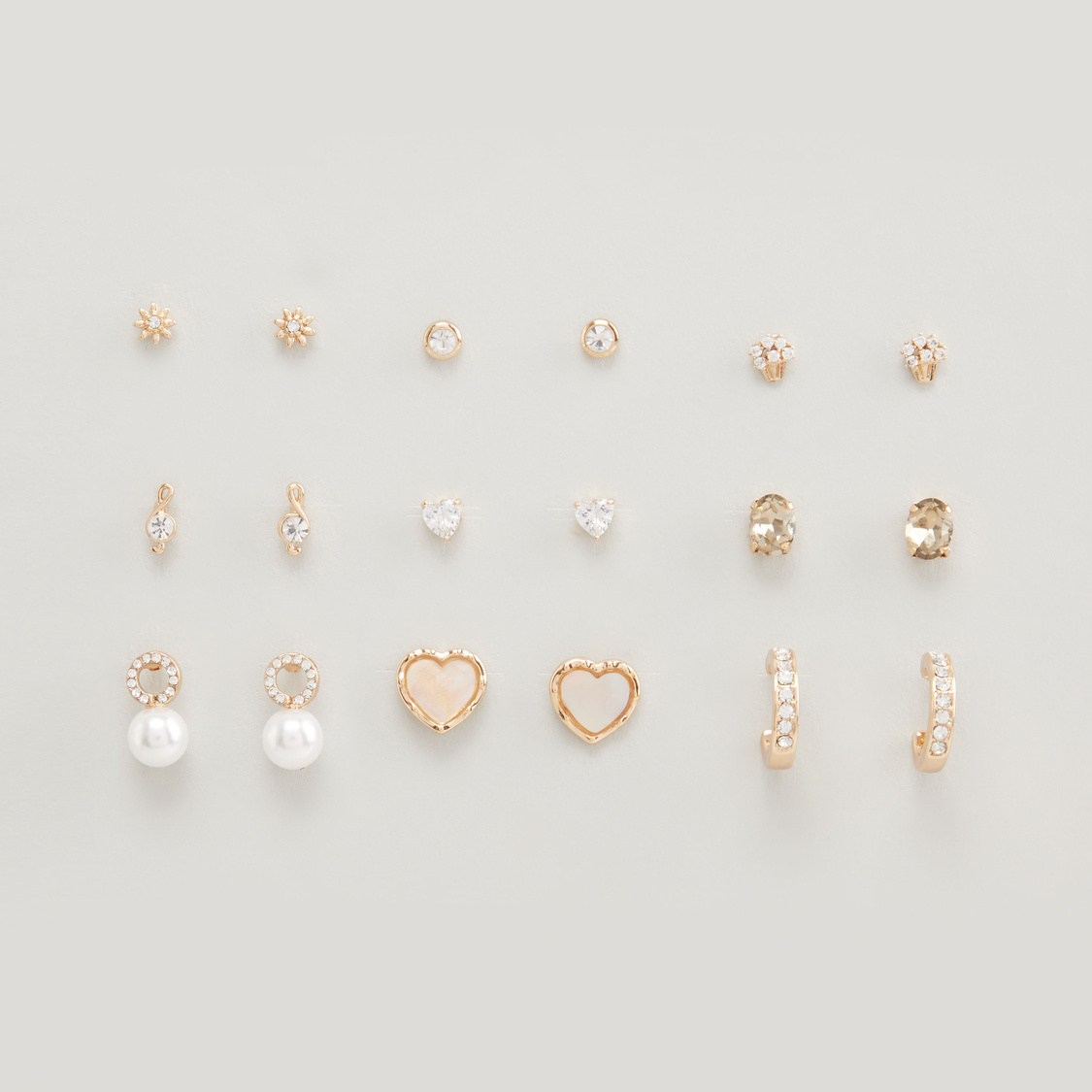 Set of 9 - Embellished Earrings with Pushback Closure