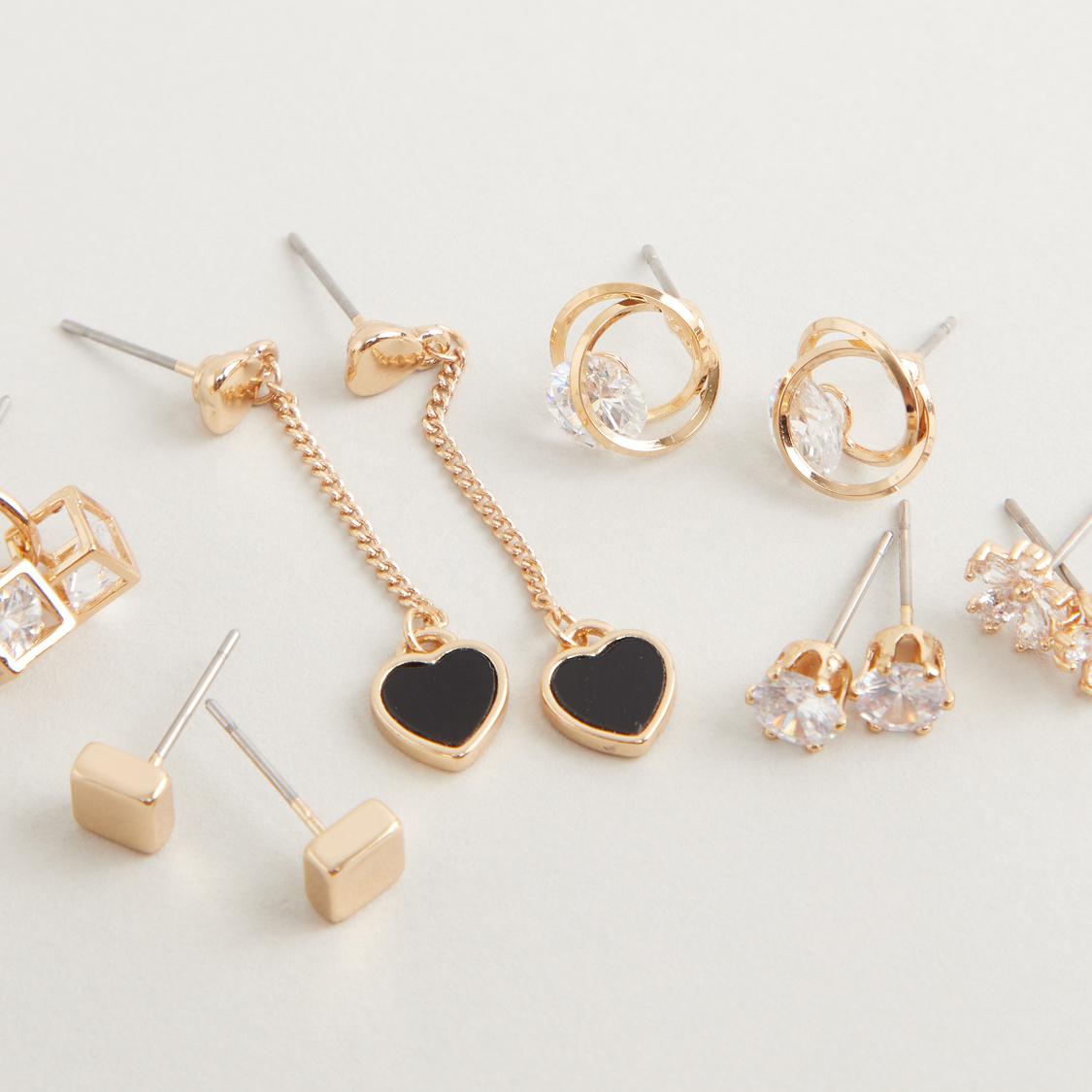 Set of 6 - Crystal Studded Earrings