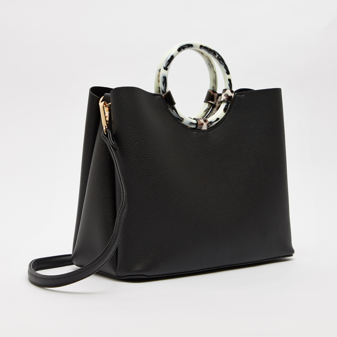 Textured Handbag with Pouch