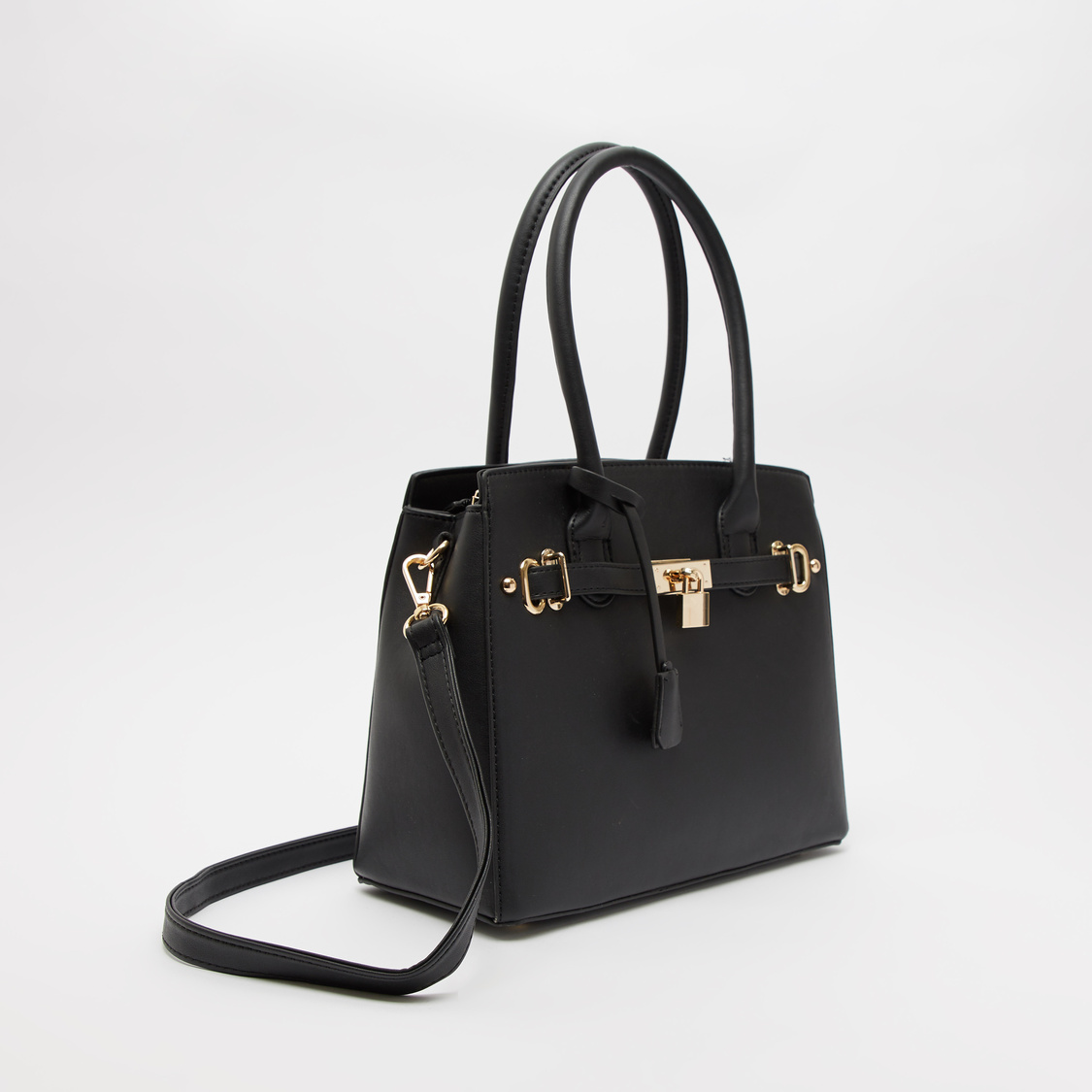 Solid Handbag with Lock and Tags