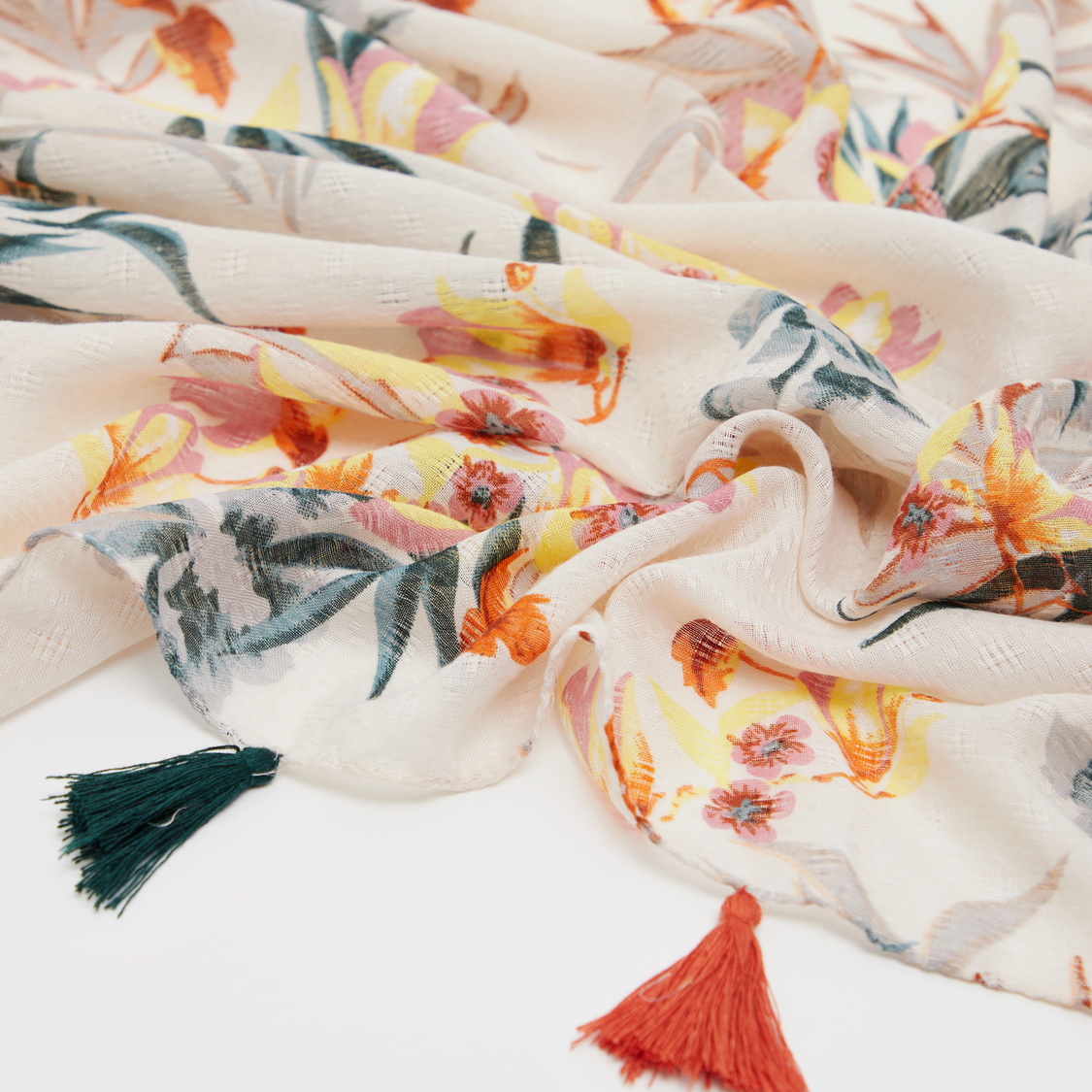 Floral Print Scarf with Tassel Detail