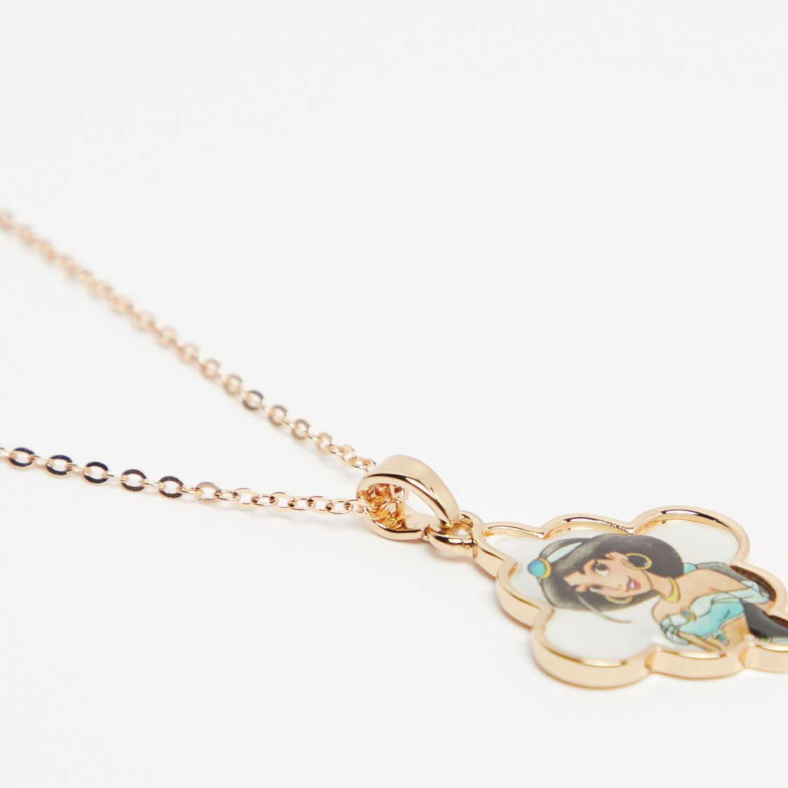Jasmine Print Pendant Necklace with Lobster Clasp